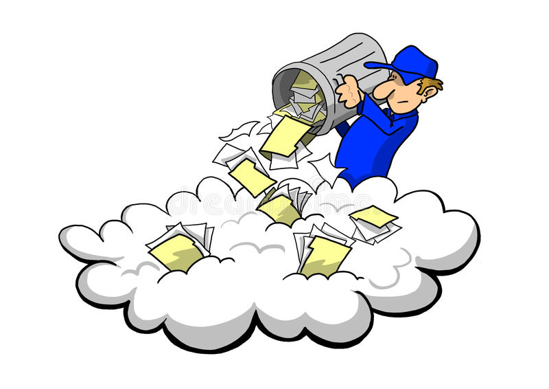 Almacenar los desperdicios en la nube libre illustration