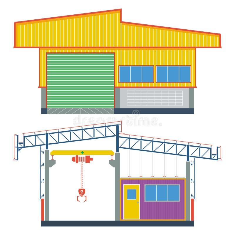 Almacene el edificio, fábrica del transporte, ejemplo del vector stock de ilustración