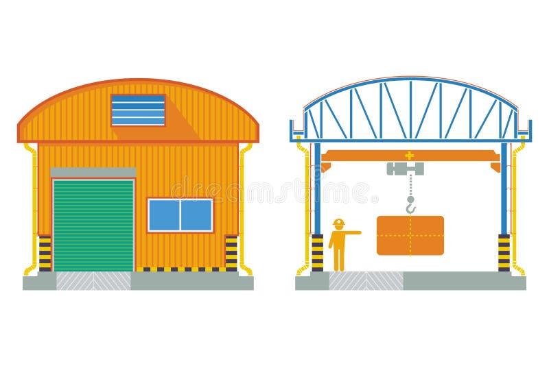 Almacene el edificio, fábrica seccionada transversalmente, ejemplo del vector libre illustration