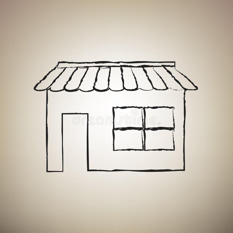 Almacene el ejemplo de la muestra Vector Icono negro drawed cepillo en el ligh libre illustration