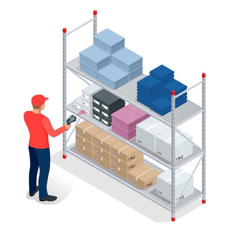 Almacene el encargado o al trabajador del almacén con el escáner de código de barras que comprueba mercancías en los estantes del ilustración del vector
