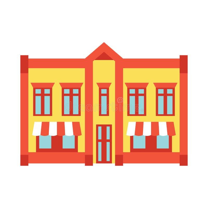 Almacene el icono del color del edificio de la ventana delantera de la tienda stock de ilustración