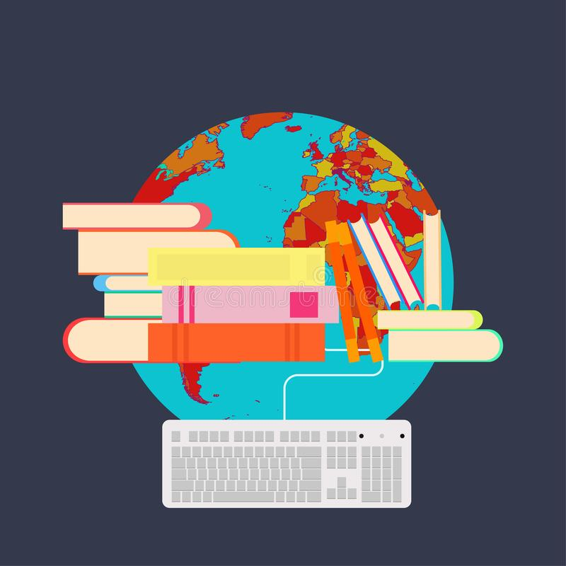 Almacene la biblioteca de la información literaria del libro La página de la librería aprende símbolo de la ciencia de la colecci libre illustration