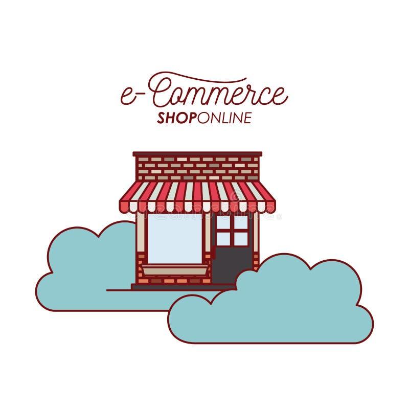 Almacene la casa en la tienda del comercio electrónico de las nubes en línea en el fondo blanco stock de ilustración