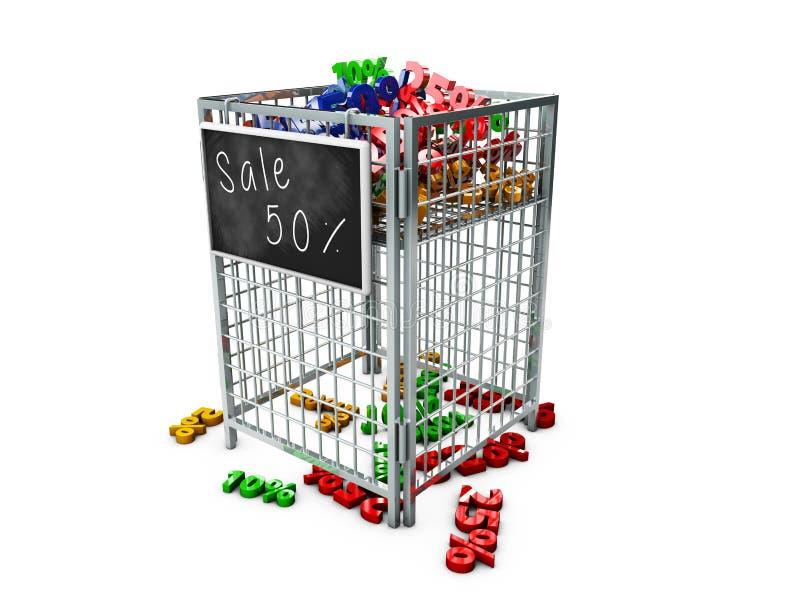 Almacene la cesta de la exhibición de la promoción con números y procents stock de ilustración