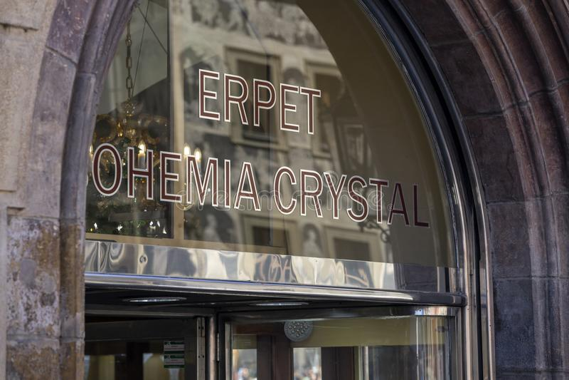 Almacene la muestra para el cristal de Erpet Bohemia en Praga foto de archivo libre de regalías