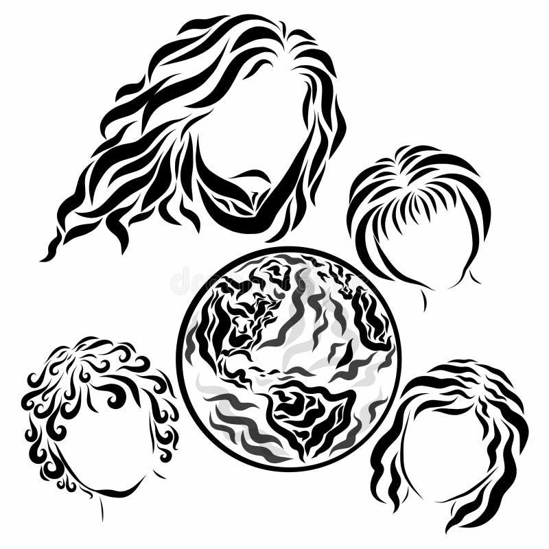 Almachtige Jesus, de aarde en de mensen, kinderen vector illustratie