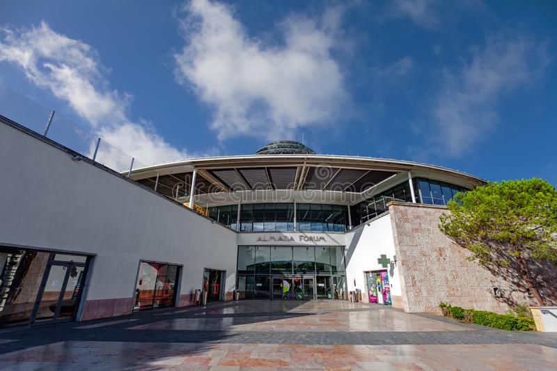 Almada, Portugal - October 24, 2019: Entrance of the Almada Forum shopping center, one of the largest shopping malls in Portugal. Almada, Portugal - October 24 stock photography