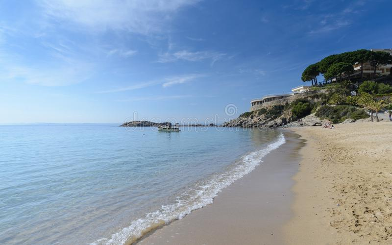Almadrava海滩,在肋前缘布拉瓦岛,西班牙的玫瑰 库存照片