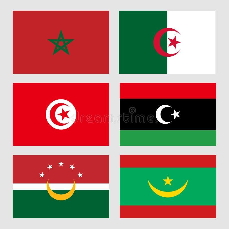 Almaghribi Maghreb del alittihad de las banderas foto de archivo libre de regalías