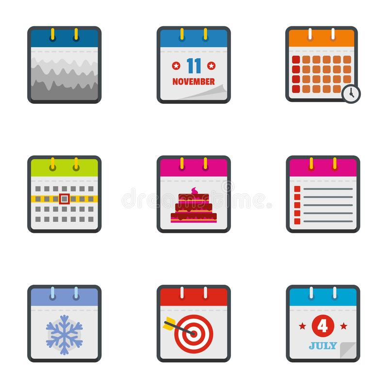 Almanach ikony ustawiać, mieszkanie styl ilustracja wektor