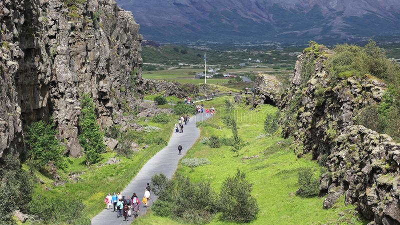 Almannagja gorge in Thingvellir national park, Iceland stock photography
