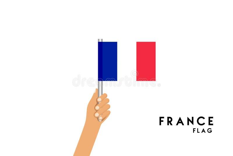 Vector cartoon illustration of human hands hold france flag stock illustration