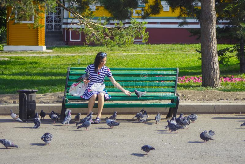 ALMATY, CAZAQUISTÃO - 27 DE JULHO DE 2017: Pombos de alimentação da mulher desconhecida no parque da cidade de 28 Panfilov em Alm imagem de stock
