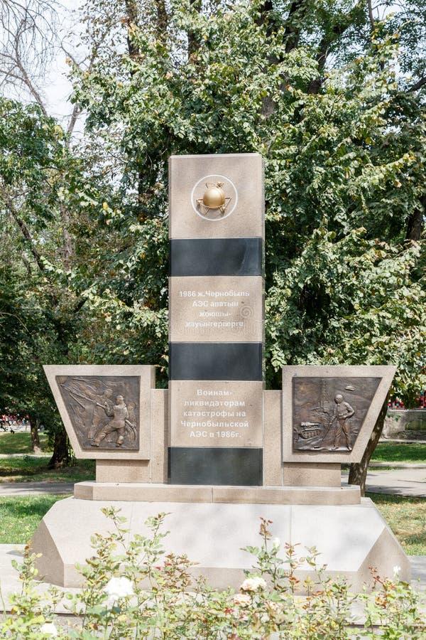 Almaty, il Kazakistan - 29 agosto 2016: Monumento ai liquidatori di immagine stock