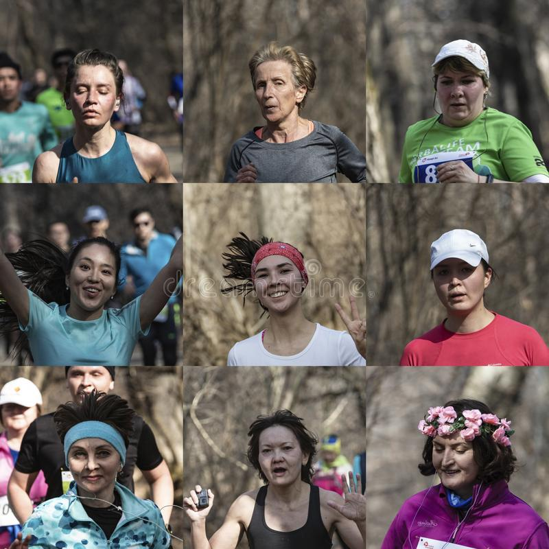 ALMATY IL KAZAKISTAN - 16 MARZO 2019: nove fronti delle maratonete con differenti espressioni, durante la maratona della molla de immagine stock libera da diritti