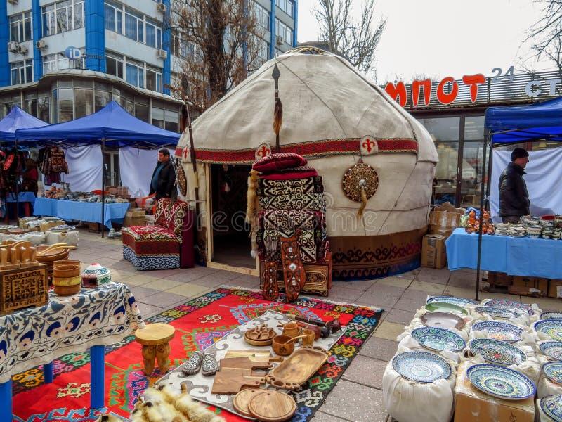 Almaty - Kazakh yurt on the street royalty free stock images