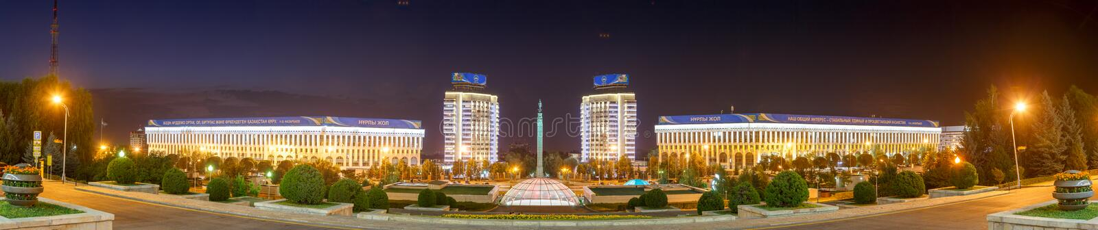Almaty, Kazakhstan - August 29, 2016: Kazakhstan`s Independence. Monument - a monument on the central square Republic Square, Alma-Ata. Night Panorama royalty free stock photos