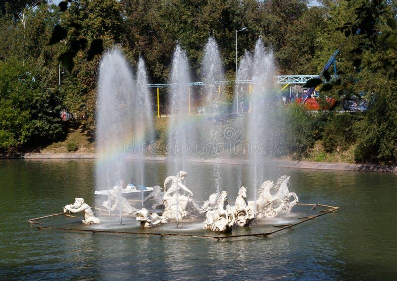 Almaty, Kazakhstan - August 28, 2016: Rainbow in the fountain. P stock image