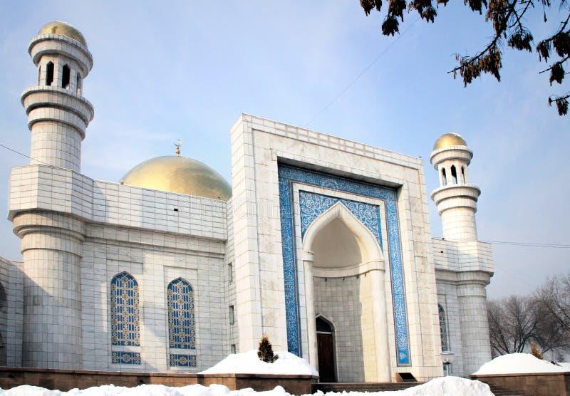 Almaty, Kazakhstan. Central Almaty Mosque in Kazakhstan, on winter day stock photography