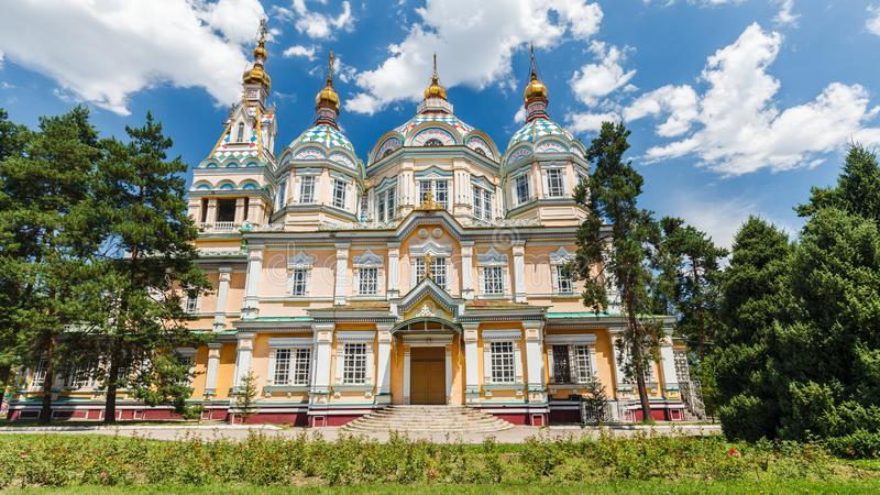 A view of Ascension Cathedral in Almaty stock image