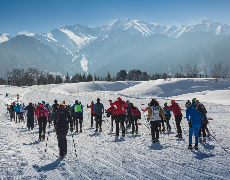 ALMATY, KAZAKHSTAN - FEBRUARY 18, 2017: amateur competitions in the discipline of cross-country skiing, under the name stock images