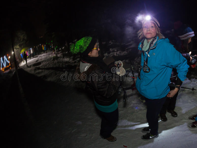 ALMATY, KAZAKHSTAN - 18 FEBRUARY 2017: Night competitions in the foothills of the city of Almaty, in the Trailrunning royalty free stock photo