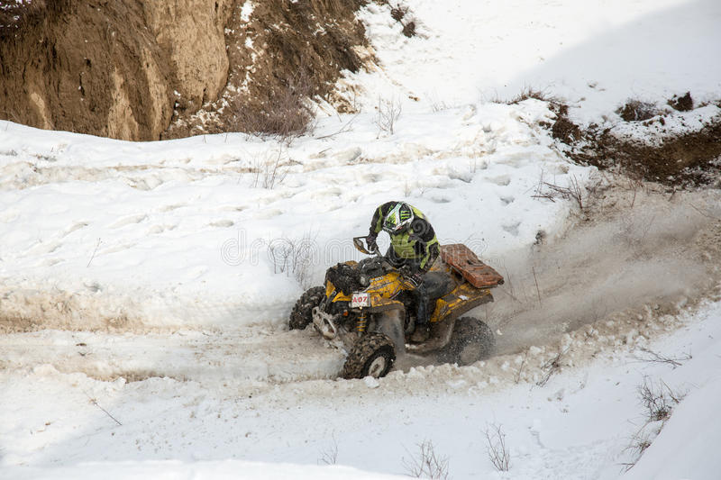 Almaty, Kazakhstan - February 21, 2013. Off-road Racing On Jeeps, Car Competition,  ATV. Editorial Stock Image