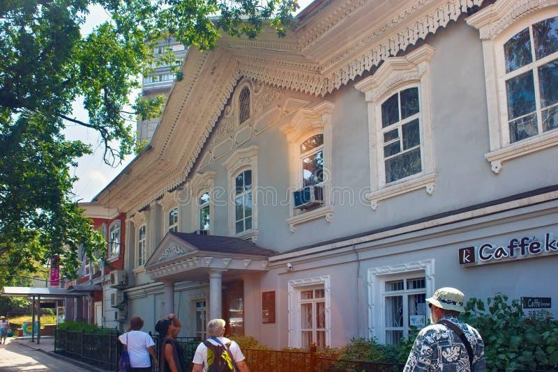ALMATY, KAZAKHSTAN - JULY 27, 2017: View of the historical building built in 1860 of the Seid-Ahmet Seydalin. View of the historical building built in 1860 of stock images