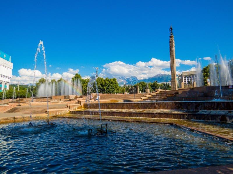 Republic Square, Almaty, Kazakhstan. ALMATY, KAZAKHSTAN - JUNE 18, 2018: Fountains on Republic Square royalty free stock photos
