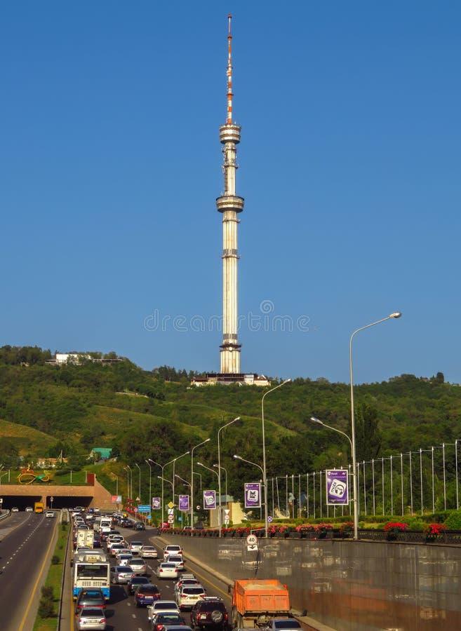 Almaty - telecommunication tower. Almaty, Kazakhstan - July 21, 2017: Kok Tobe telecommunication tower from Al Farabi avenue in Almaty, Kazakhstan stock photo