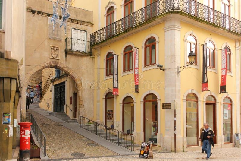 Almedina Poort Coimbra portugal stock afbeelding