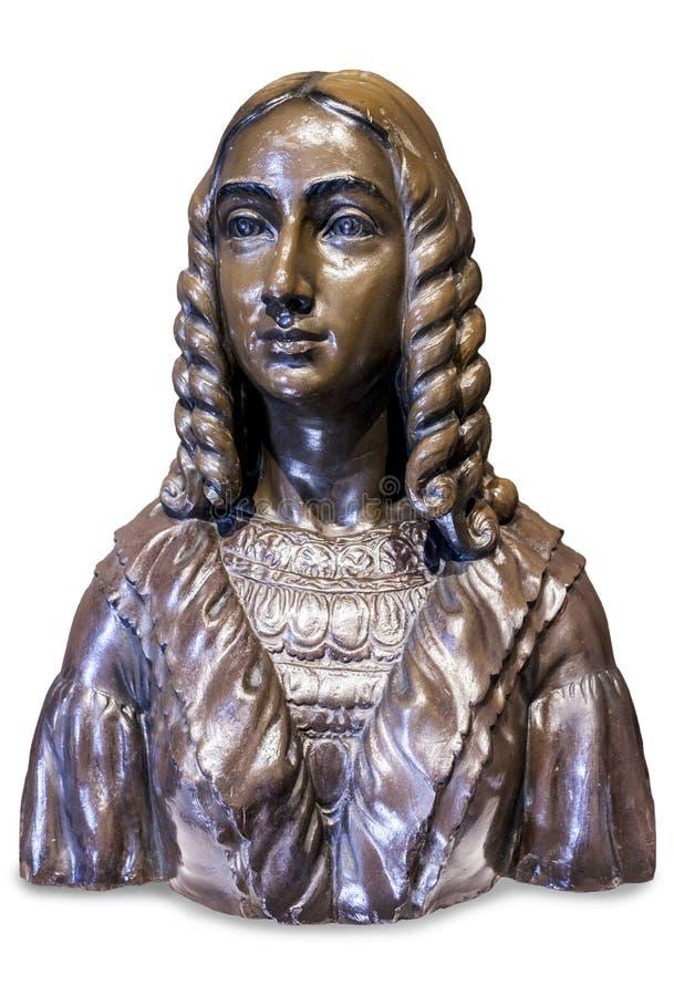 Carolina Coronado bust by Pedro Navia. Famous spanish romantic poetess stock images