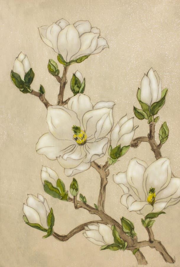 Almendras florecientes blancas ilustración del vector