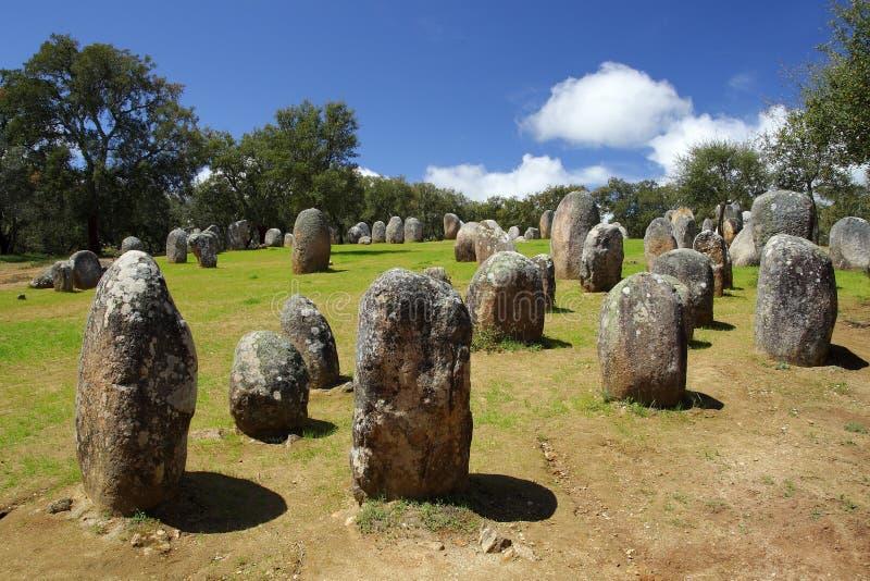 Almendres巨石碑 免版税库存图片