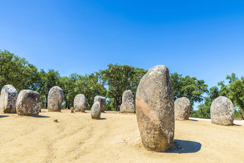 Almendres megalithic complex, Portugal stock photography