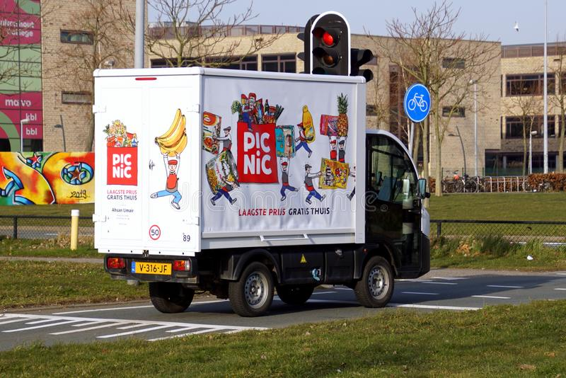 Electric delivery vehicle from Picnic stock photography