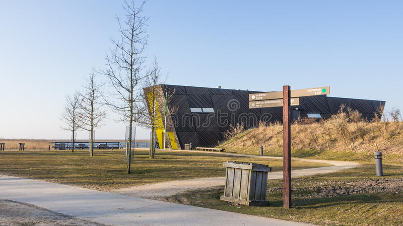 ALMERE, NETHERLANDS - MARCH 17, 2016: NP Oostvaardersplassen. Visitor center Oostvaarders in NP Oostvaardersplassen, a large wild reserve with wetland and large stock photos