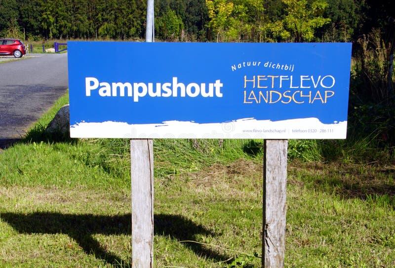 Entrance sign of Flevo-landschap Het Pampushout. royalty free stock photo