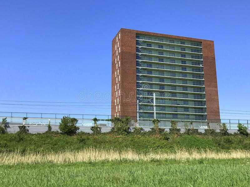 Modern apartment building, Tribeca Complex, in Almere royalty free stock photos