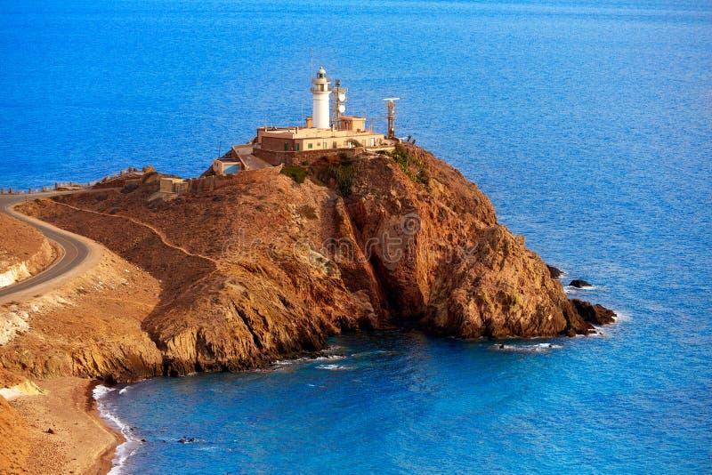 Almeria Cabo de Gata-vuurtoren Mediterraan Spanje stock afbeeldingen