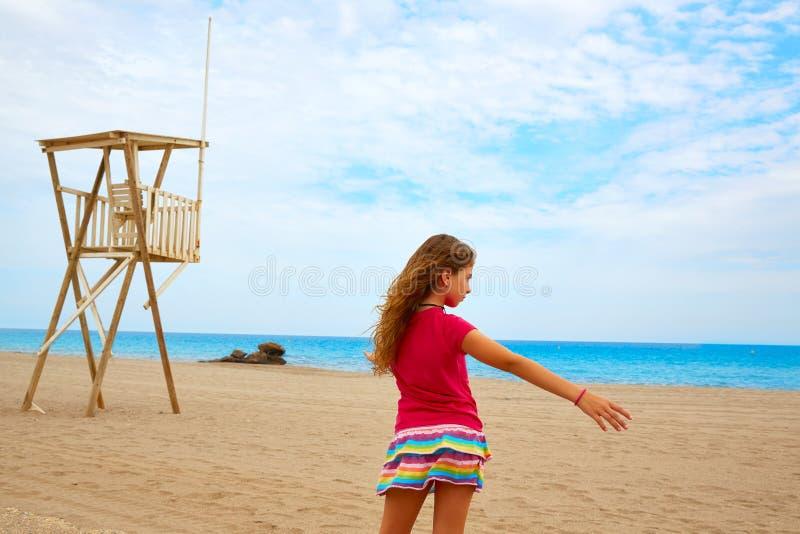 Almeria Mojacar beach Mediterranean sea Spain. Almeria Mojacar beach girl in Mediterranean sea of Spain stock photography
