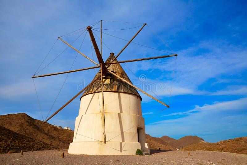 Almeria Molino de los Genoveses windmill Spain. Almeria Molino de los Genoveses windmill traditional in Spain Cabo de Gata royalty free stock images