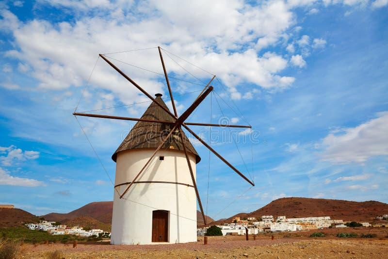 Almeria Molino Pozo de los Frailes windmill Spain. Almeria Molino Pozo de los Frailes windmill traditional in Spain stock photo