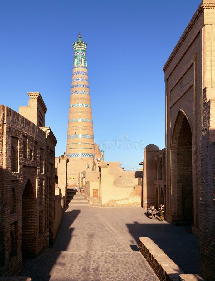 Alminar del hoja de Islom - Khiva imagen de archivo libre de regalías