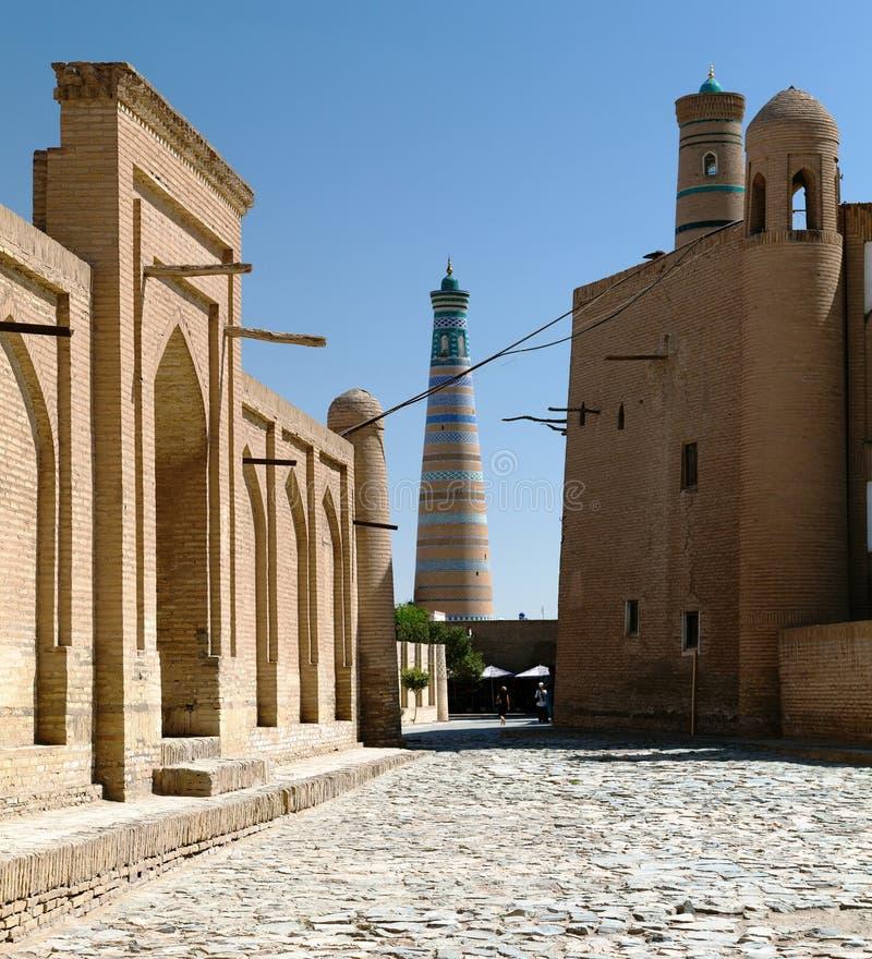 Alminar del hoja de Islom - Khiva - Uzbekistán fotografía de archivo libre de regalías