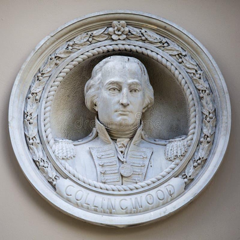 Almirante Collingwood Medallion Bust em Greenwich foto de stock royalty free