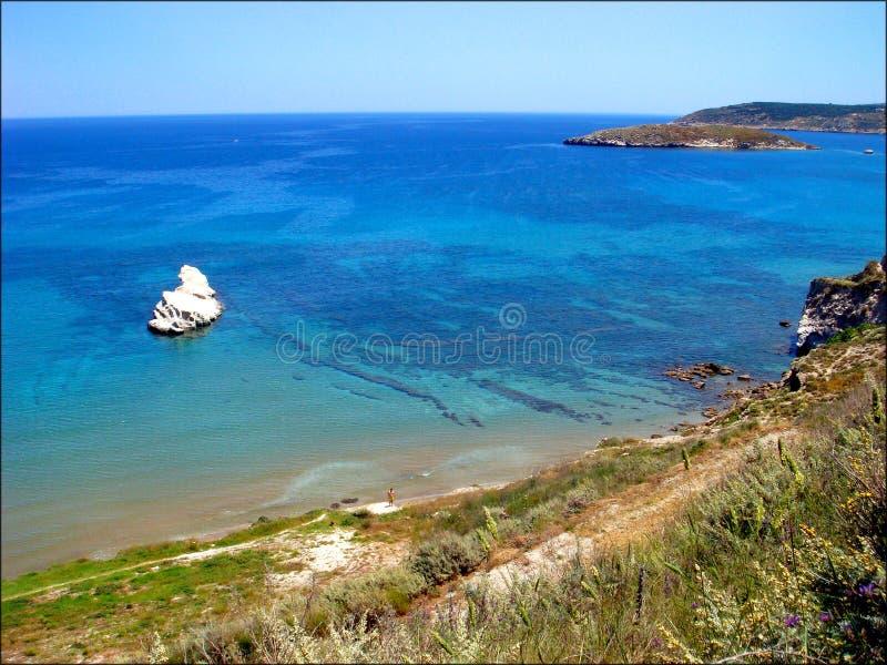 Almirida海滩chania使私有地点惊奇的希腊 免版税库存照片