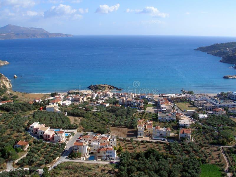 Almirida - Plaka海滩,干尼亚州,克利特,希腊 免版税库存图片