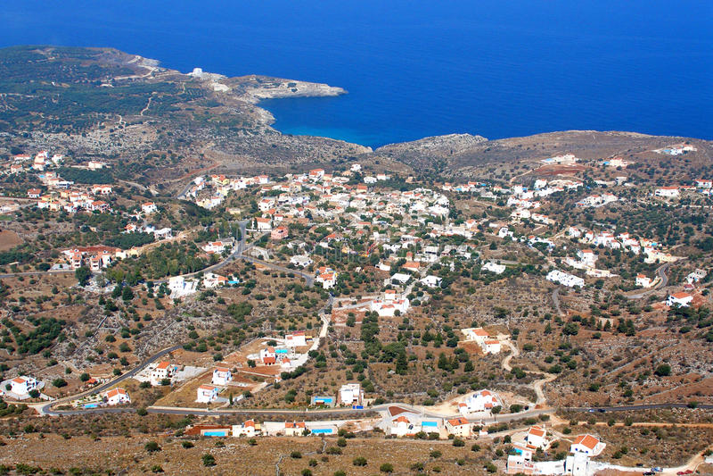 Almirida - Plaka strand, Chania, Kreta, Grekland royaltyfri fotografi